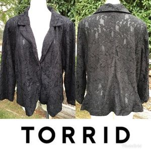 Torrid Black Romantic Sexy Lace Blazer